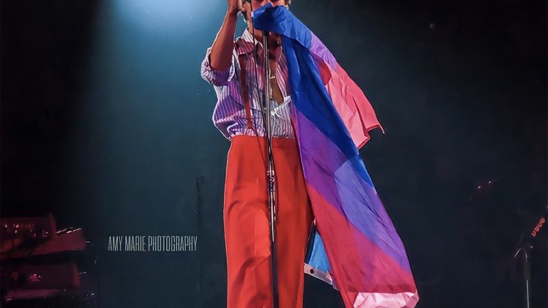 Harry Styles proudly wears bisexual Pride flag on his Love On Tour during Bi Visibility Month