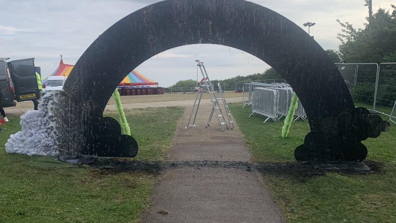 UK Pride: Rainbow arch 'deliberately' burned down after local festival